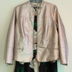 Baccini Feaux Leather Moto Jacket Champagne Pink